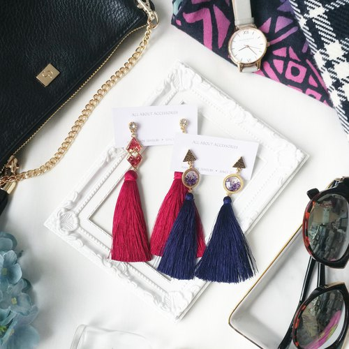 Classic tassel series - Long tassel earrings / ear clip