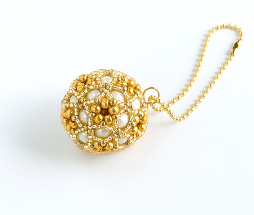 Gold christmas ornament, star flower ball charm, beaded ball, star ball key chain, beadwork, beaded sphere, 379