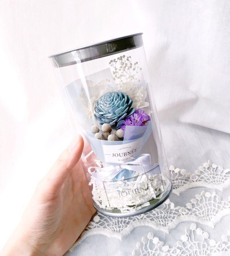 journee  3號小花罐-天堂藍香氛 附卡片 / 藍色系乾燥花束