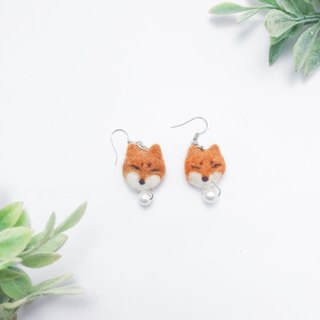 Fox Wool Feather Drop Earrings _ Earhook / Ear Clips Valentine's Fox Mother's Day