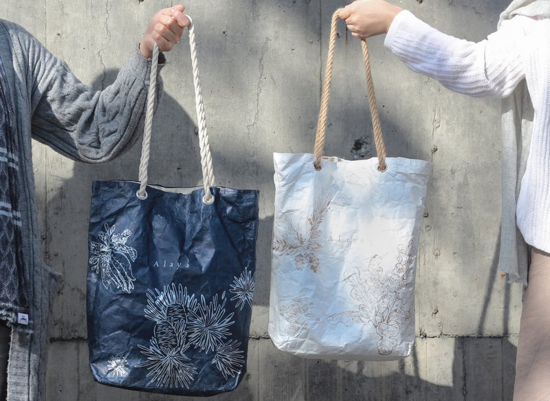 [Optional 5 pieces] Hand-painted herbal waterproof paper bag. Navy blue hot silver / pure white fog gold