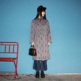 F3120 [Vintage dress] (Italian) gray texture woolen half-breasted small red flowers ancient dress