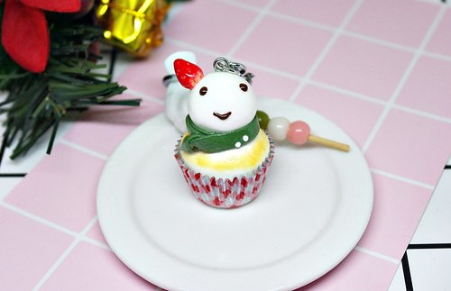 ➽ Clay Series - Snowman cupcake - # key ring # # bag accessories # # exchange gifts # # Christmas #