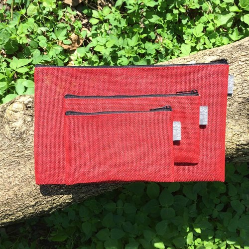 Paper Cord Pouch 3 piece set (Red)