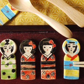 Kokeshi chopstick rest [Red]