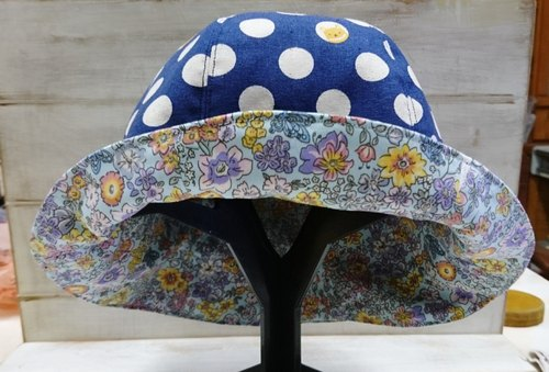 Small brown dog bit & baby blue small floral two-sided hat
