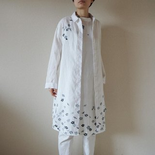 Linen · long shirt White <ink shade>