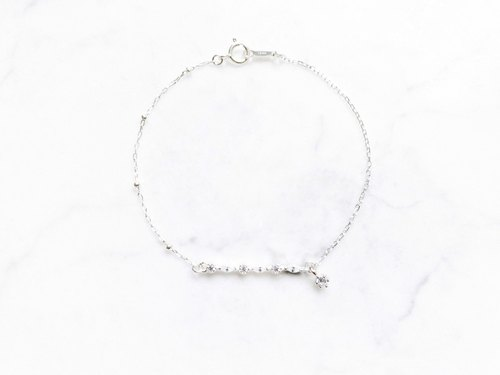 ::Shimmer Light Series:: Highlights Drill Silver Ball Asymmetric Bracelet