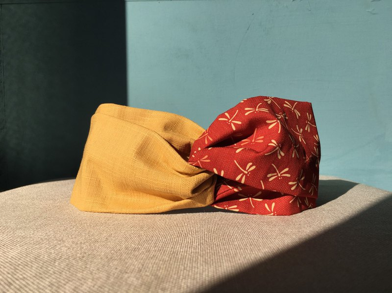 Shuangpin Headband / Red Dragonfly-Gold