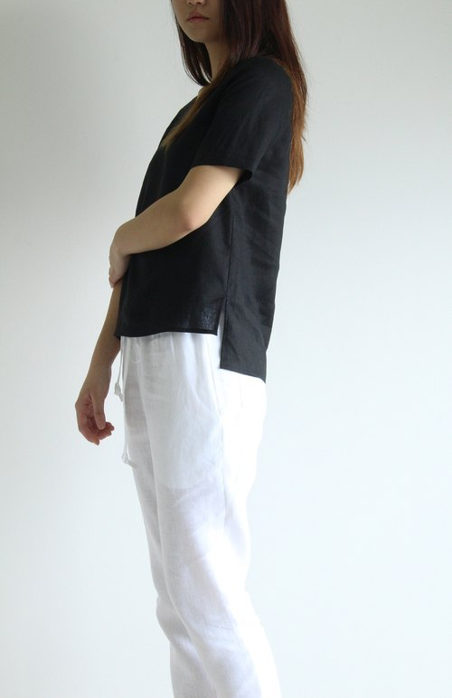 made to order linen blouse / clothing / casual / top / women /natural top E 38T