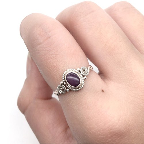 Luxurious stone 925 sterling silver Nepal handmade inlaid ring