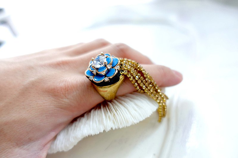 TIMBEE LO blue flower zircon flash diamond tassel chain brass ring adjustable size width