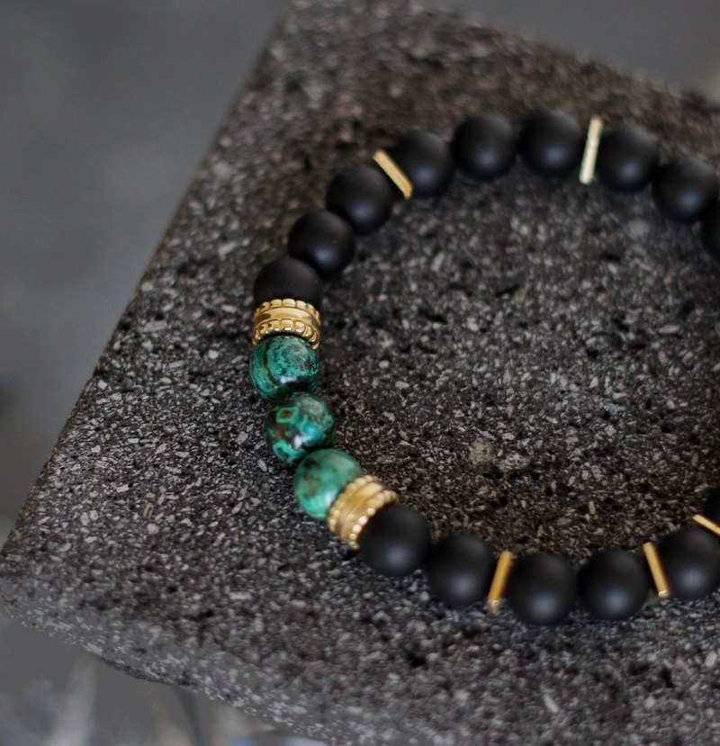 Black Rock Linghuo. Natural ore brass hand beads black agate phoenix stone original matte texture