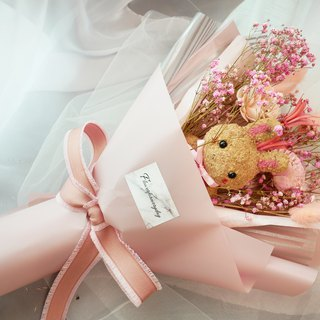 Flower daily Valentine's day moss rabbit bunny gray blue pink dry flower bouquet