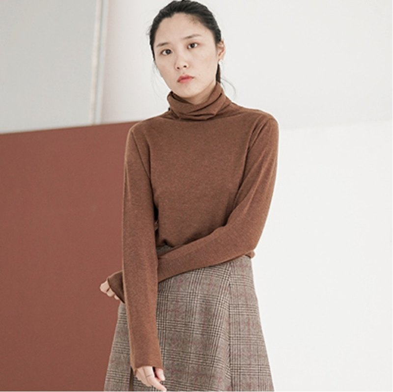 Chocolate high-necked versatile self-cultivation bottoming pile of collar blouse Merino 100% wool sweater