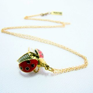 Lady bug pendant in brass and enamel color ,Rocker jewelry ,Skull jewelry,Biker jewelry