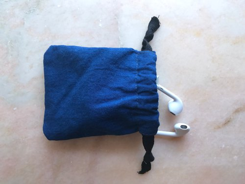 Blue dyed mini storage bundle mouth rope bag | 靛