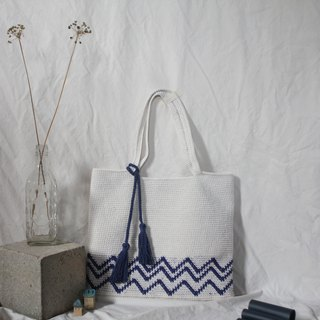 White and Blue Wave ,Crochet Tote Bag ,Handmade ,Tote Bag