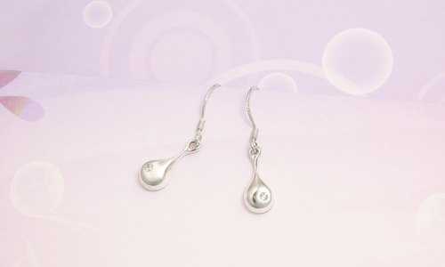 Little rain fall in sterling silver - white diamond earrings (ear pin)