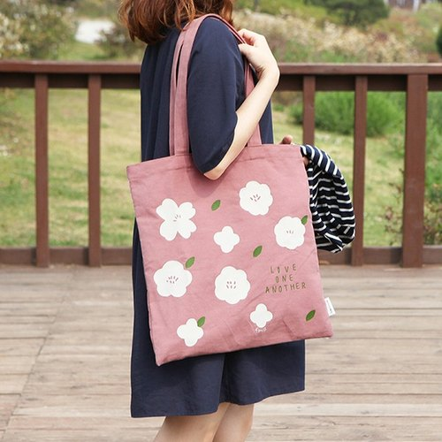 Flower flowers cotton Eco bag 01. earth powder