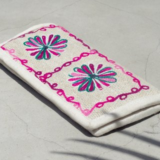 Valentine's Day Natural Cotton / Hemp Knitted Wipes / Long Wallet / National Winds Wallet / Wallet - Forest Style Flower Embroidery