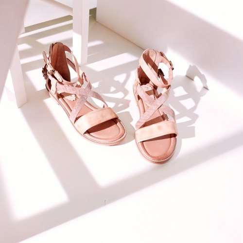 Daily small vintage! Beige - Q double leather fight zipper sandals [Major Pleasure] all leather handmade