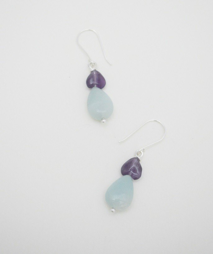 Cool Series-Silver‧Amethyst‧Amazonite Earring