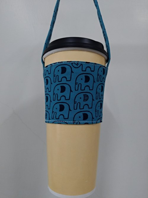 Drink Cup Set Eco Cup Set Hand Drink Bag Coffee Bag Tote Bag - Elephant (Blue)