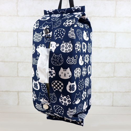 Hanging Storage Bag Toilet Paper / Cover - Cat Face (Blue)