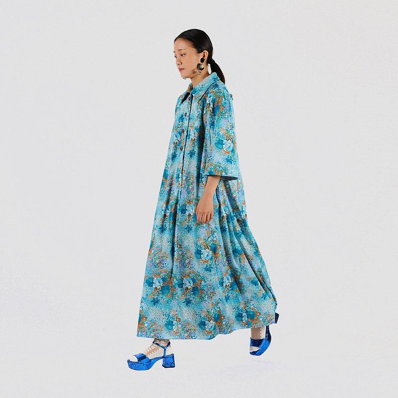 【蛋植物古着】花影水榭印花傘狀古著洋裝