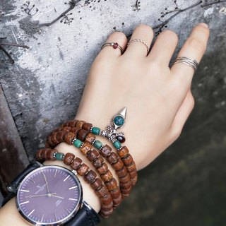 [108 rosary series / unique product] old turquoise * Vajra Bodhi rosary multi-ring bracelet