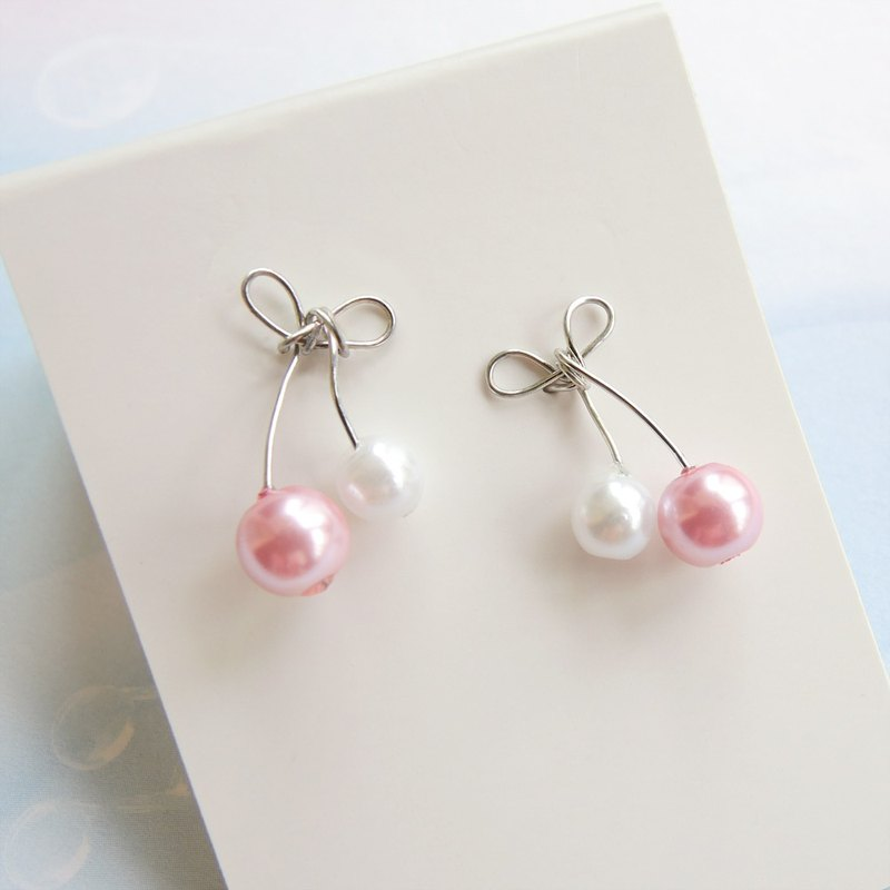 Fun Fruit Pearl Silver Needle Ear Clips (four colors optional)
