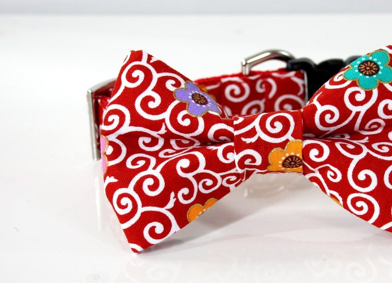 Collar with arabesque flower pattern small dog bow tie S size - red
