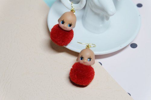 Remade Kewpie Dolls/ doll earrings/Playful decoration/handmade/vintage doll/Kawa