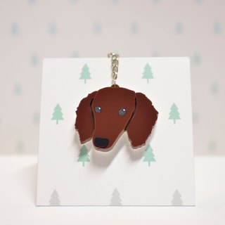 Coffee Dachshund - Long Hair - Key Ring Acrylic