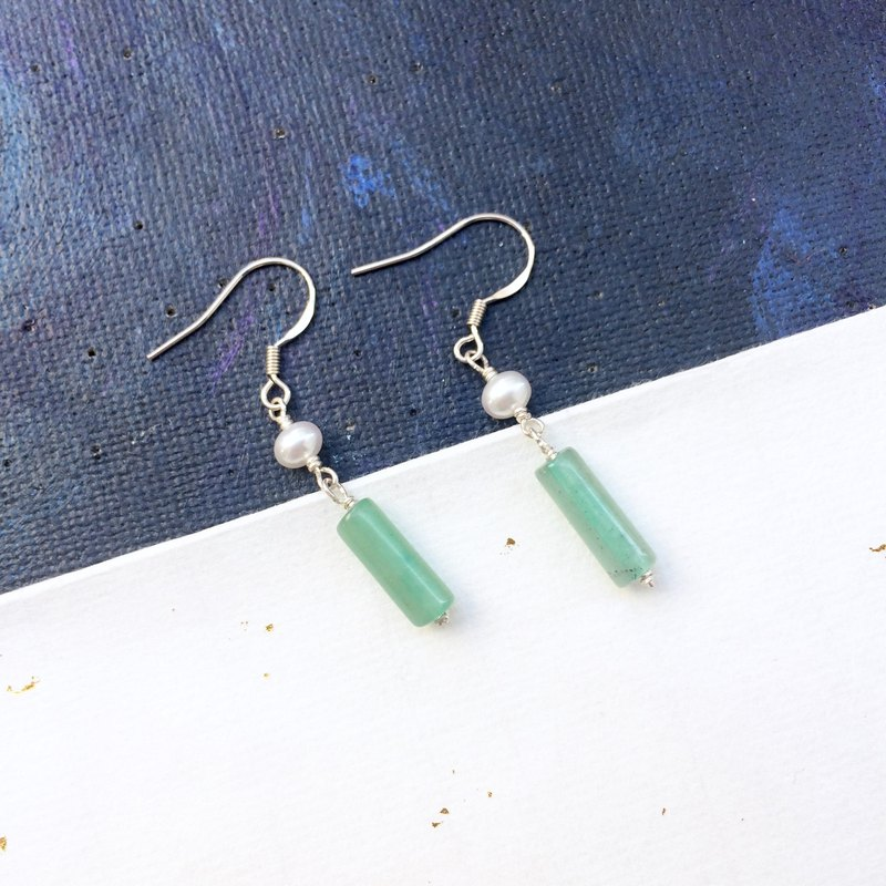 925 silver-pearl & dongling jade earrings