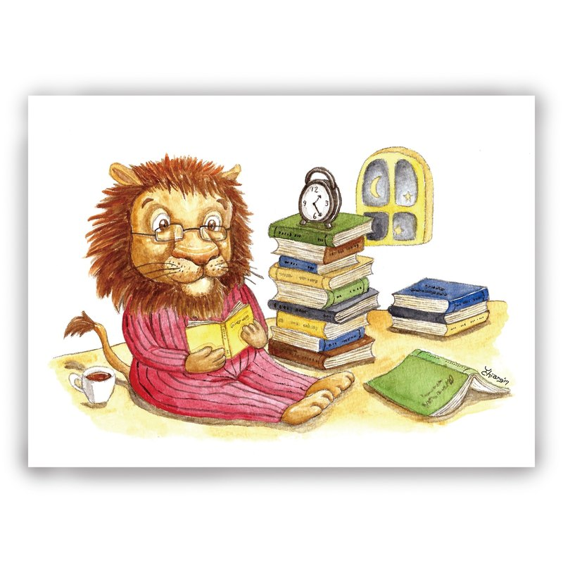Hand-painted illustrations of universal cards / cards / postcards / illustrations card - lion reading night reading up late K book reading
