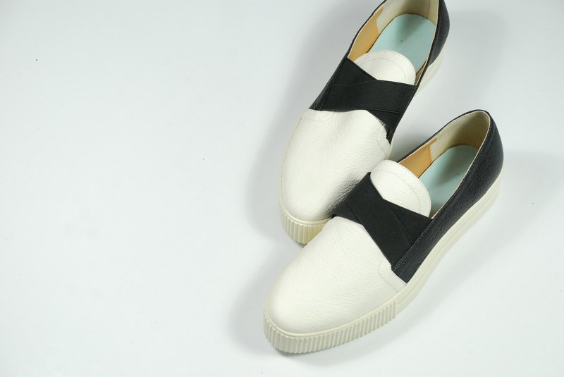 Black and white platform shoes