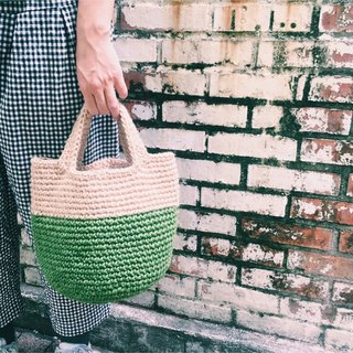 Hand-woven material bag - Udon noodles hemp handbag - round bottom