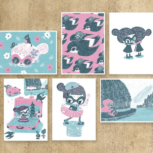 POSTCARD Set (6 Postcards) - Flying Sofye