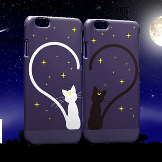 Black and white couple cat iPhone X 8 7 6s Plus 5s Samsung S7 S8 S9 phone case case
