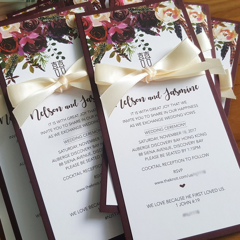 MYLoveHK Rustic style personalized wedding invitation customised design