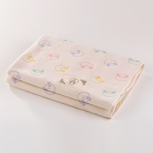 [Made in Japan Sanhe Kapok] Six Gauze Quilts - Rainbow Macaron Panda M