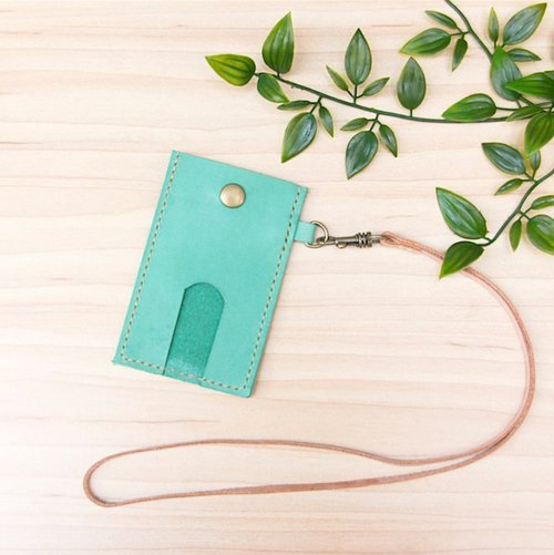 Leather leisure card set lake water green free lettering gift lanyard