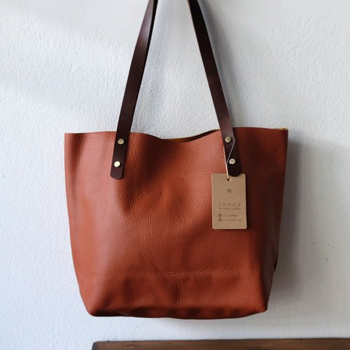 Last one!! Orange Brown Japanese Leather Tote Bag / Simple Cowhide Handmade Bag