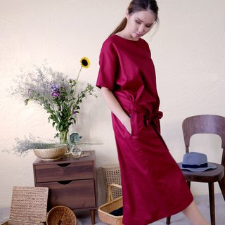 Evening sleeves with long dress/berry red