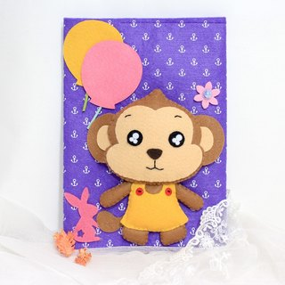 Little Monkey music than the rabbit LoveRabbit- manual envelope - hand sewn + Girl + Purple - note book covers, gift, mom manual envelope