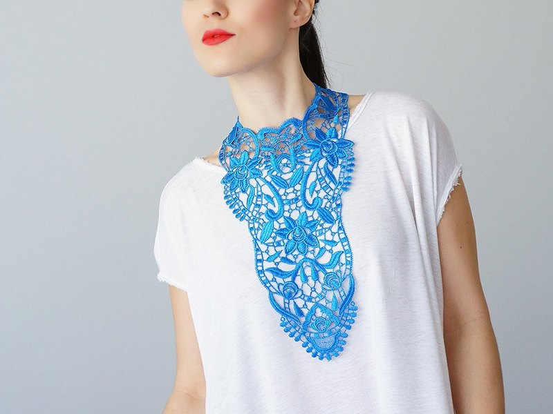 BLUE Clothing Gift Necklace Venise Lace Necklace Lace Jewelry Bib Necklace Statement Necklace Body Jewelry Gift/ ERCOLA
