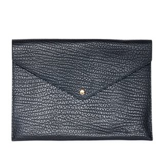Patina leather hand-made envelopes folder clip clutch