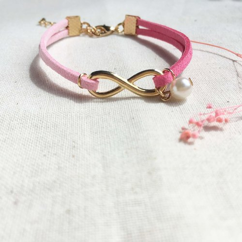 Handmade Infinity Bracelets Rose Gold Series– strawberry pink limited
